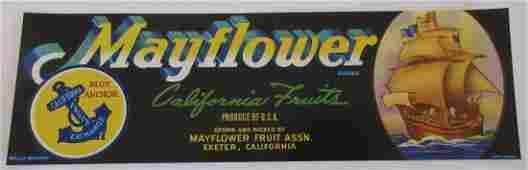 "Mayflower Grape Crate Label. 13"". c.1950s. Great"