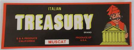 "Italian Treasury Grape Crate Label. 13"". c.1960s"