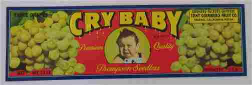 "Cry Baby Grape Crate Label. 12"". c.1960s. This is a"