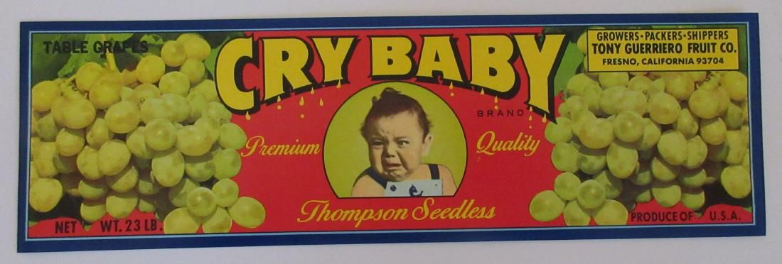 """Cry Baby Grape Crate Label. 12"""". c.1960s. This is a"""