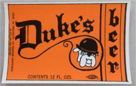 Dukes beer label with picture of a bulldog c1960s