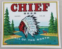 Chief Beer Bottle Label Picturing Chief Oskosh. Dated