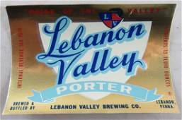 Lebanon Valley Beer Bottle Label 12 Fluid Ounces