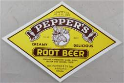 Peppers Root Beer Bottle Label with Moose 6 wide