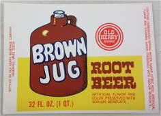 Brown Jug Root Beer Bottle Label 514 wide c1960s