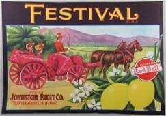Festival Lemon Crate Label 834 x 1212 c1930s