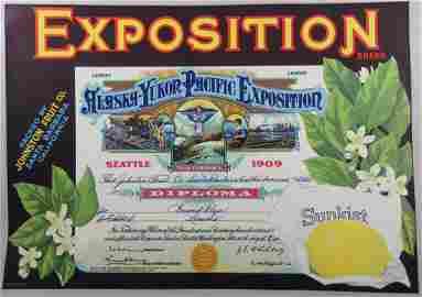 Sunkist Alaska Exposition Lemon Crate Label 8-3/4� x
