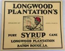 Scarce Large Size Longwood Plantation Syrup Label. 6.5�