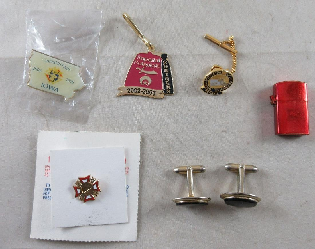 Lot of various pins, cuff links, Letter Carrier pin,