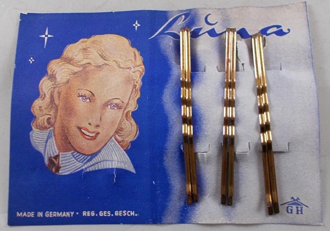 Circa 1930's Luna Bobby Pins. Full card. New old stock.