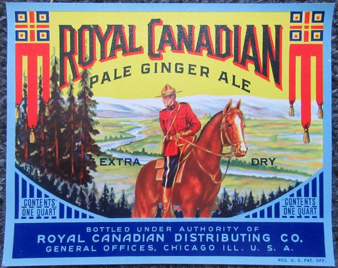 Royal Canadian Pale Dry GInger Ale Label C1940s.