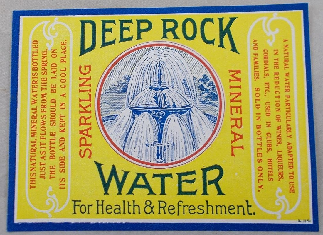 Rare & Old Deep Rock Mineral Water Label. c. 1865-1875