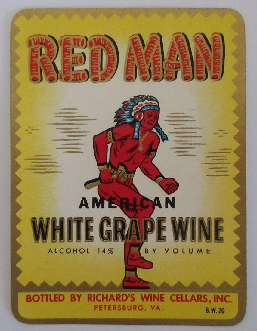 Red Man Wine Label c.1940s