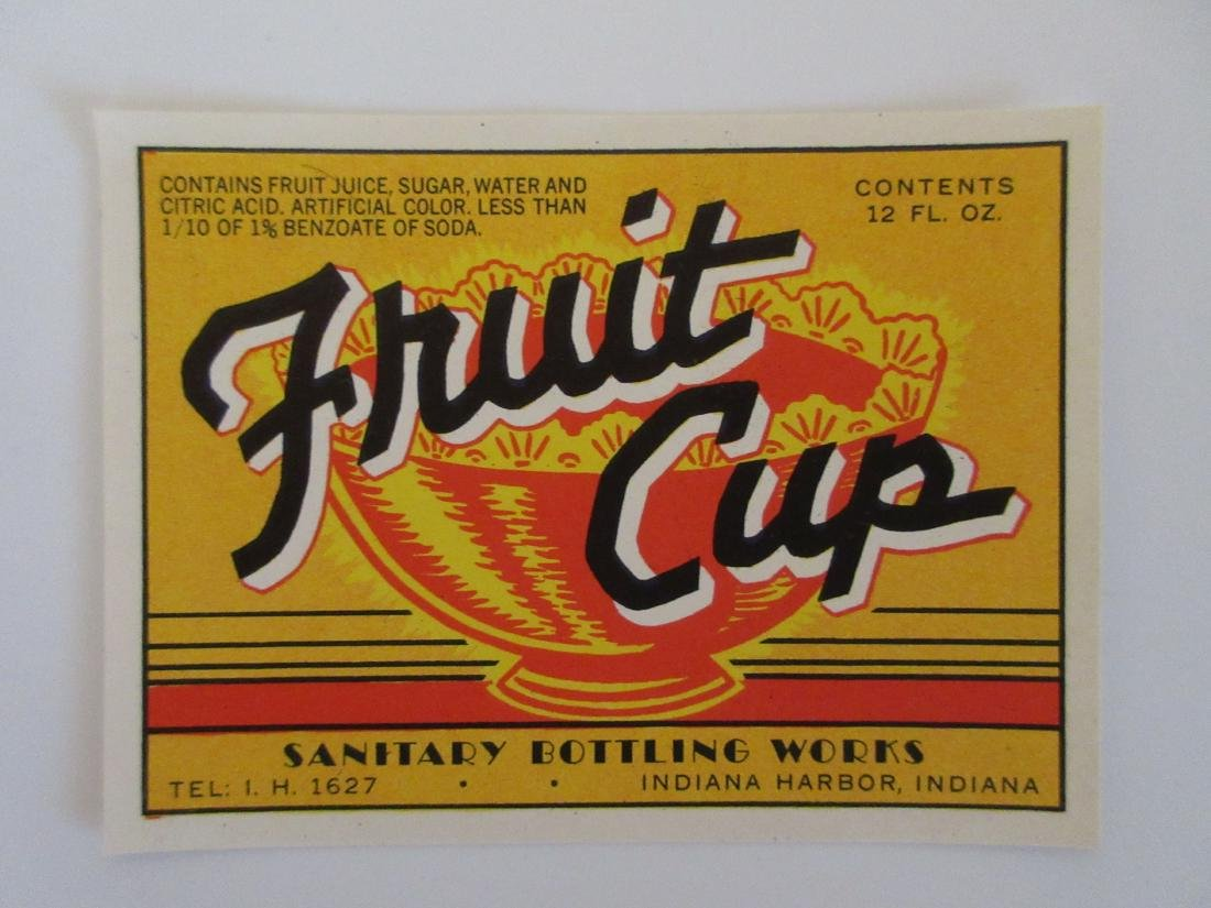 Sanitary Brand Fruit Cup Soda Bottle Label c.1930's