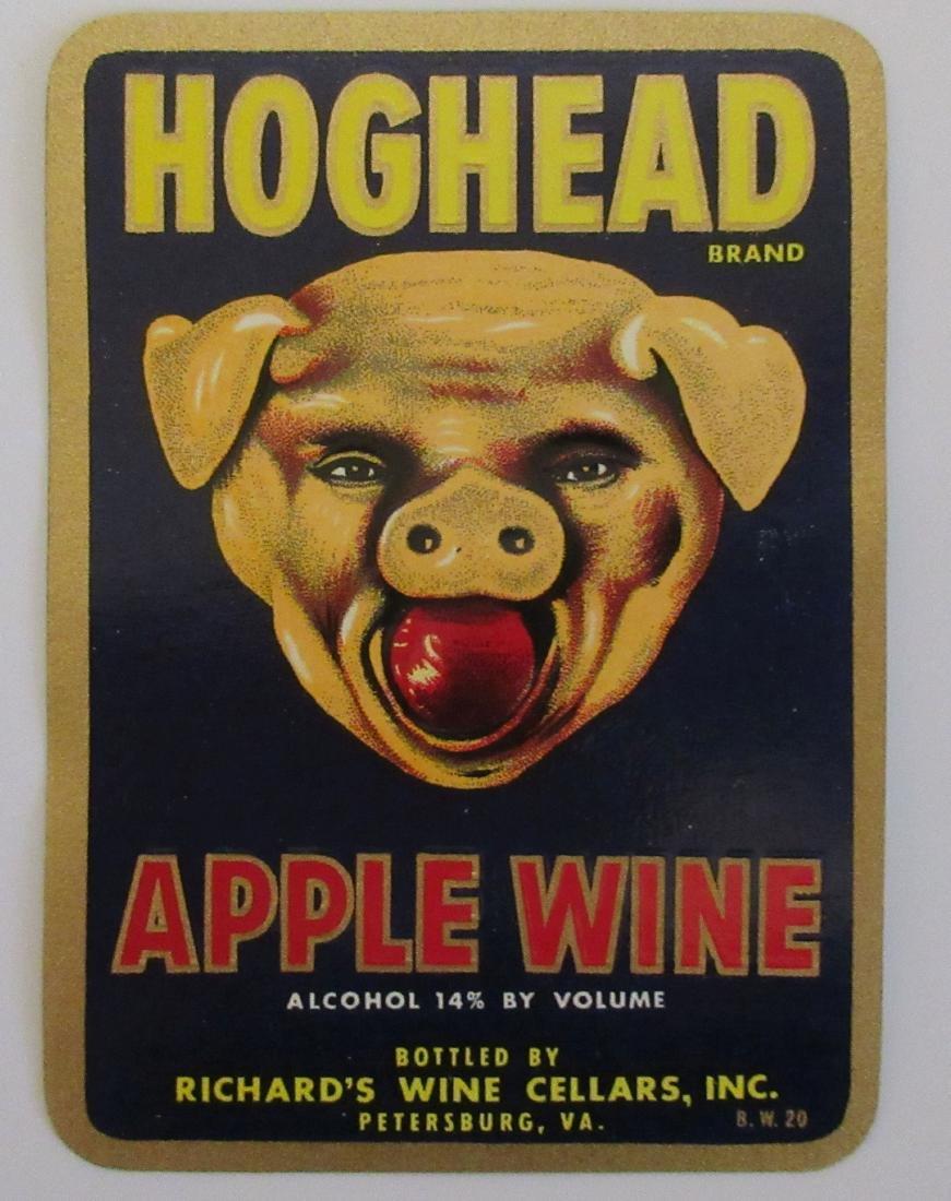 Hoghead Apple Wine Label c.1940's