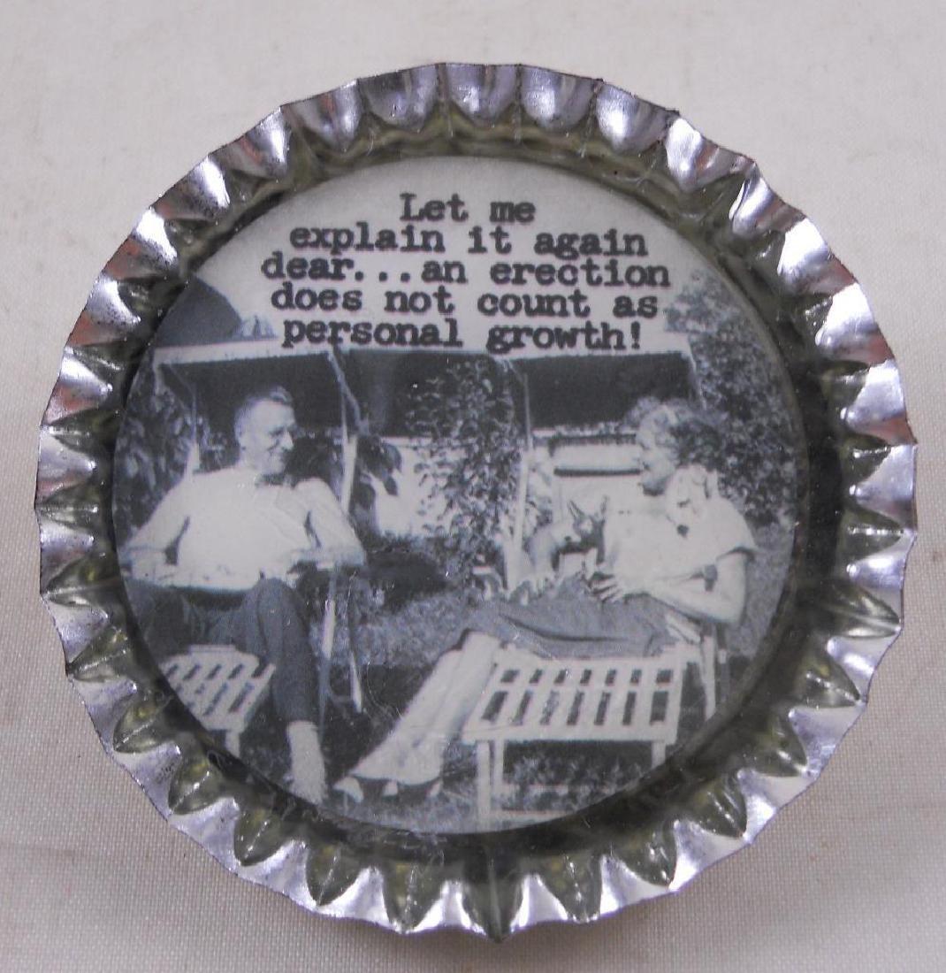 Adult Trash Talk Bottle Cap Pin. New in package.