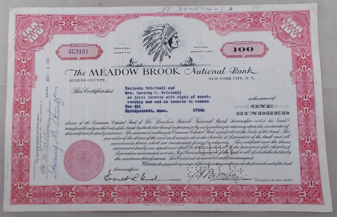 The Meadow Brook National Bank Stock Certificate -
