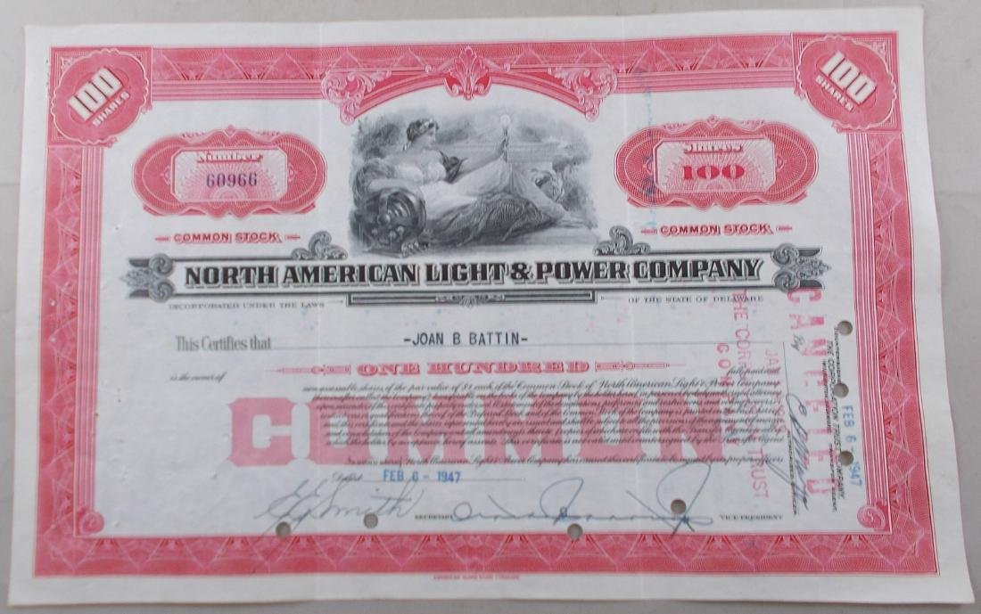 Stock Certificate from North American Light & Power
