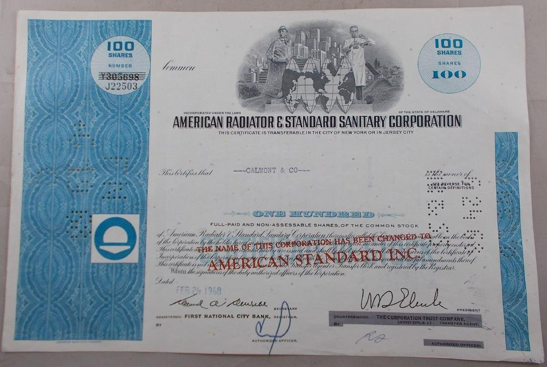 American Radiator & Standard Sanitary Corporation Stock