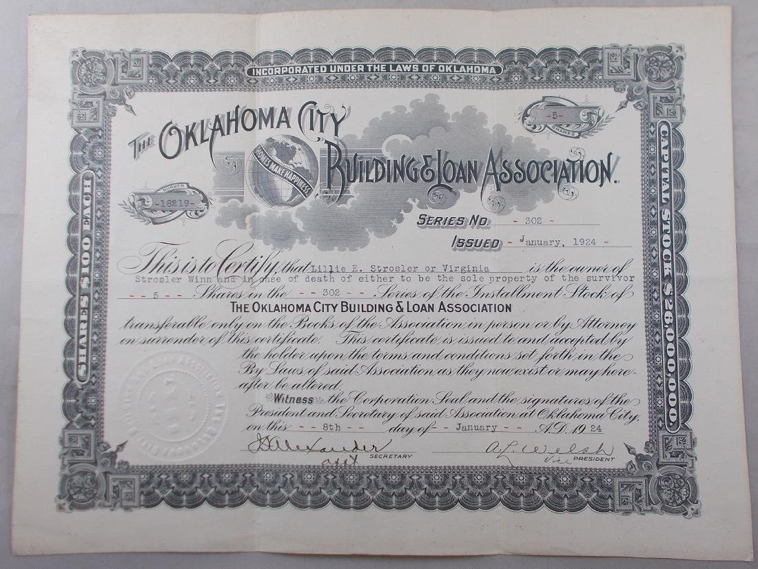 Oklahoma City Building & Loan Stock Certificate c.1924