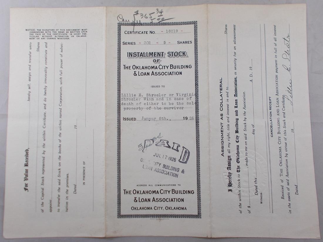 Oklahoma City Building & Loan Stock Certificate c.1924 - 2