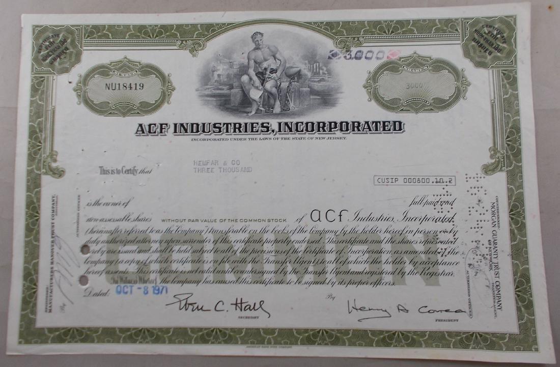 ACF Industries, Inc. Stock Certificate (American Car