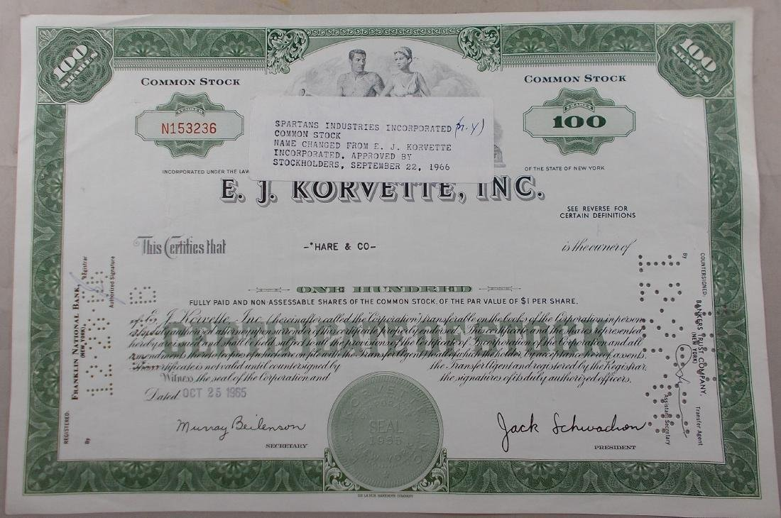 E. J. Korvette, Inc. Stock Certificate