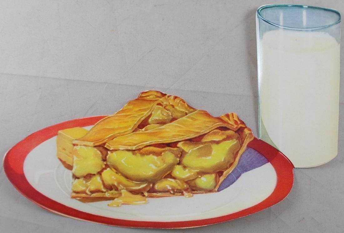 1950's Apple Pie w/ Glass of Milk Diner Sign. Found in