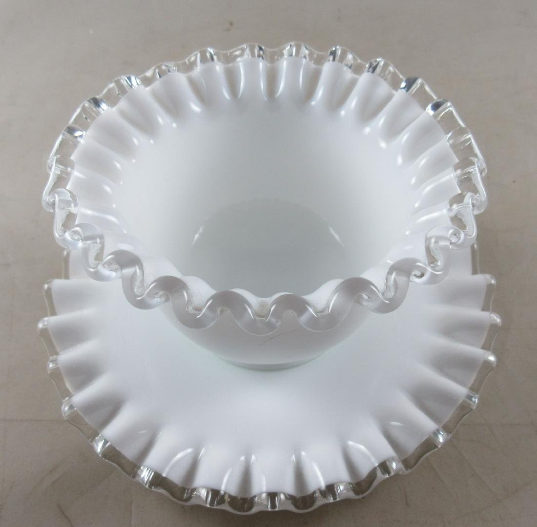 Milk Glass Bowl on Matching Base