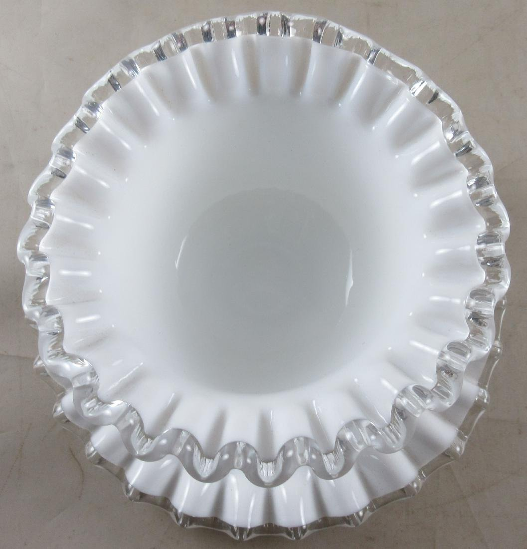 Milk Glass Bowl on Matching Base - 3