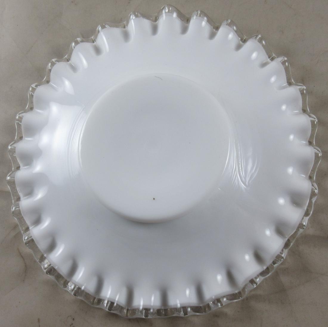 Milk Glass Bowl on Matching Base - 5