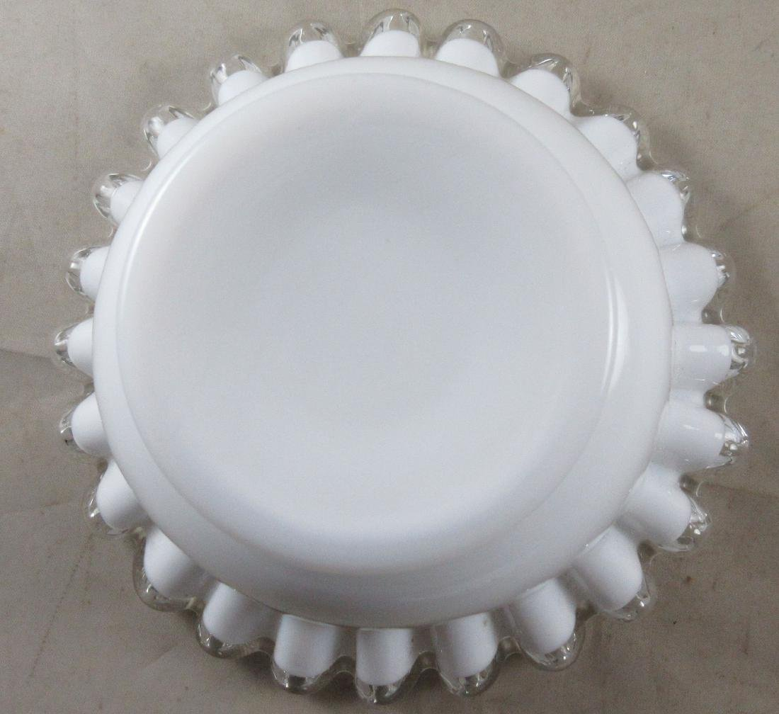 Milk Glass Bowl on Matching Base - 7