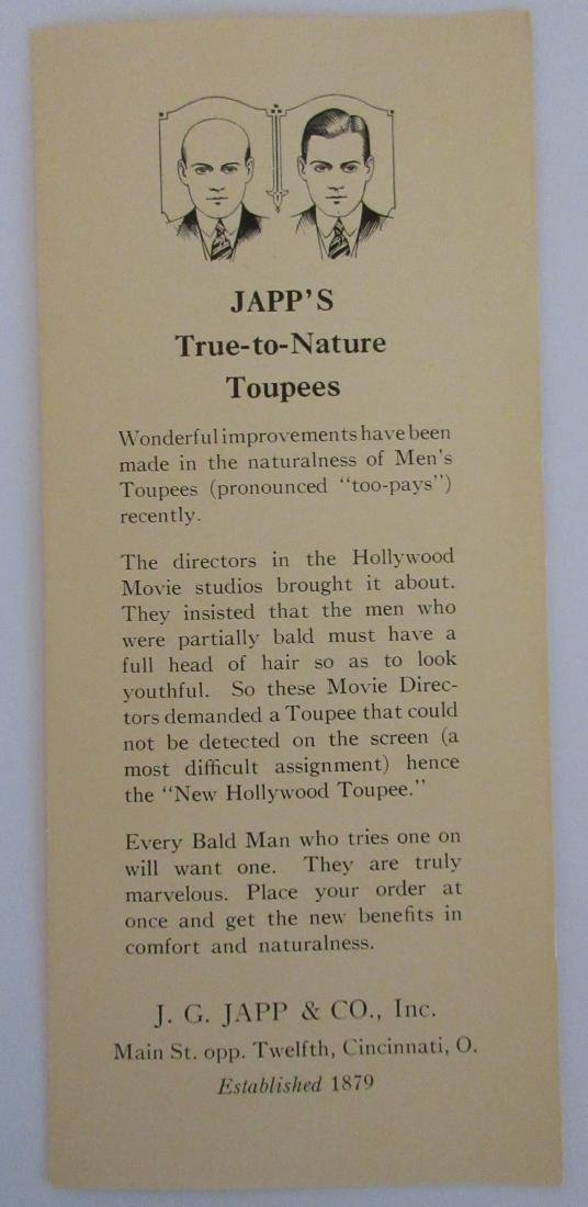 Japp's True-to-Nature Toupees for Men Brochure with