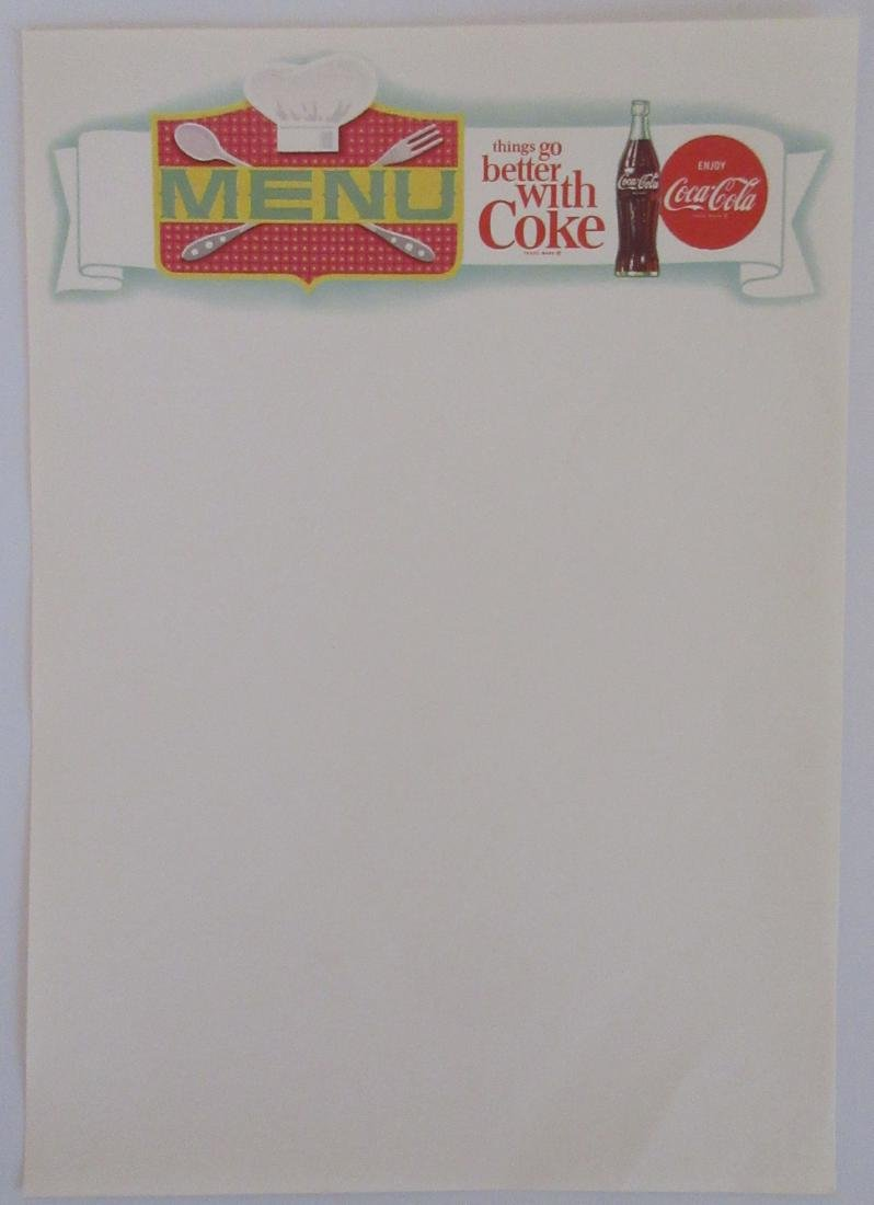 "Vintage 8"" tall Coca Cola menu sheets. Logo was used in"
