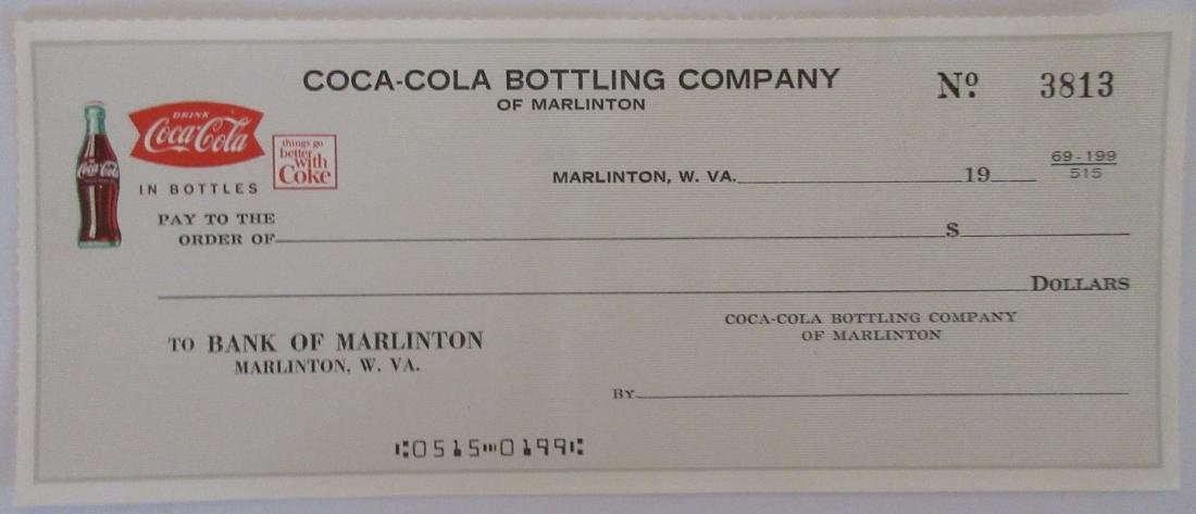 Very scarce Coca-Cola Check from the Marlinton Plant.