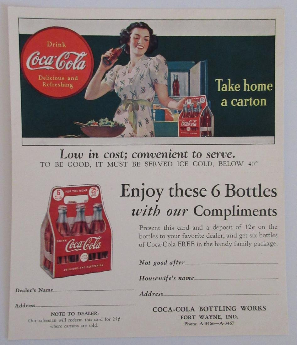 1940s Coca Cola Two Part Ad Card/Coupon with Lady and a