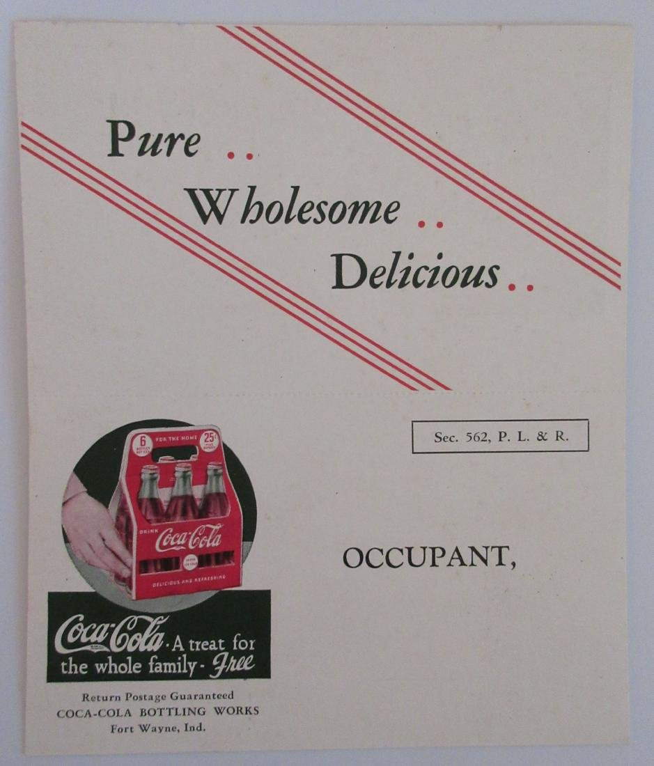 1940s Coca Cola Two Part Ad Card/Coupon with Lady and a - 2