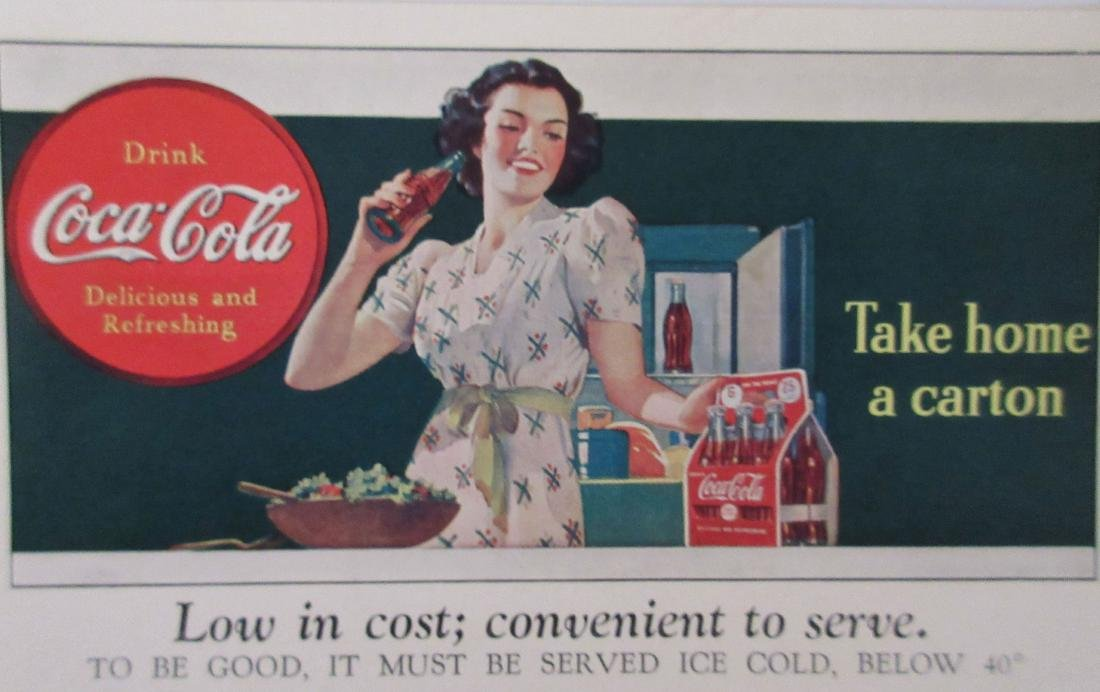 1940s Coca Cola Two Part Ad Card/Coupon with Lady and a - 3