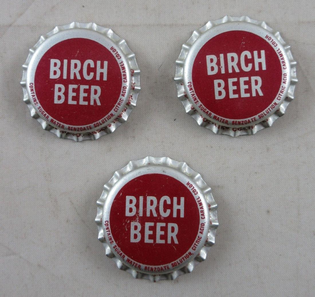 Lot of 3 Birch Beer cork lined soda caps. c.1960's