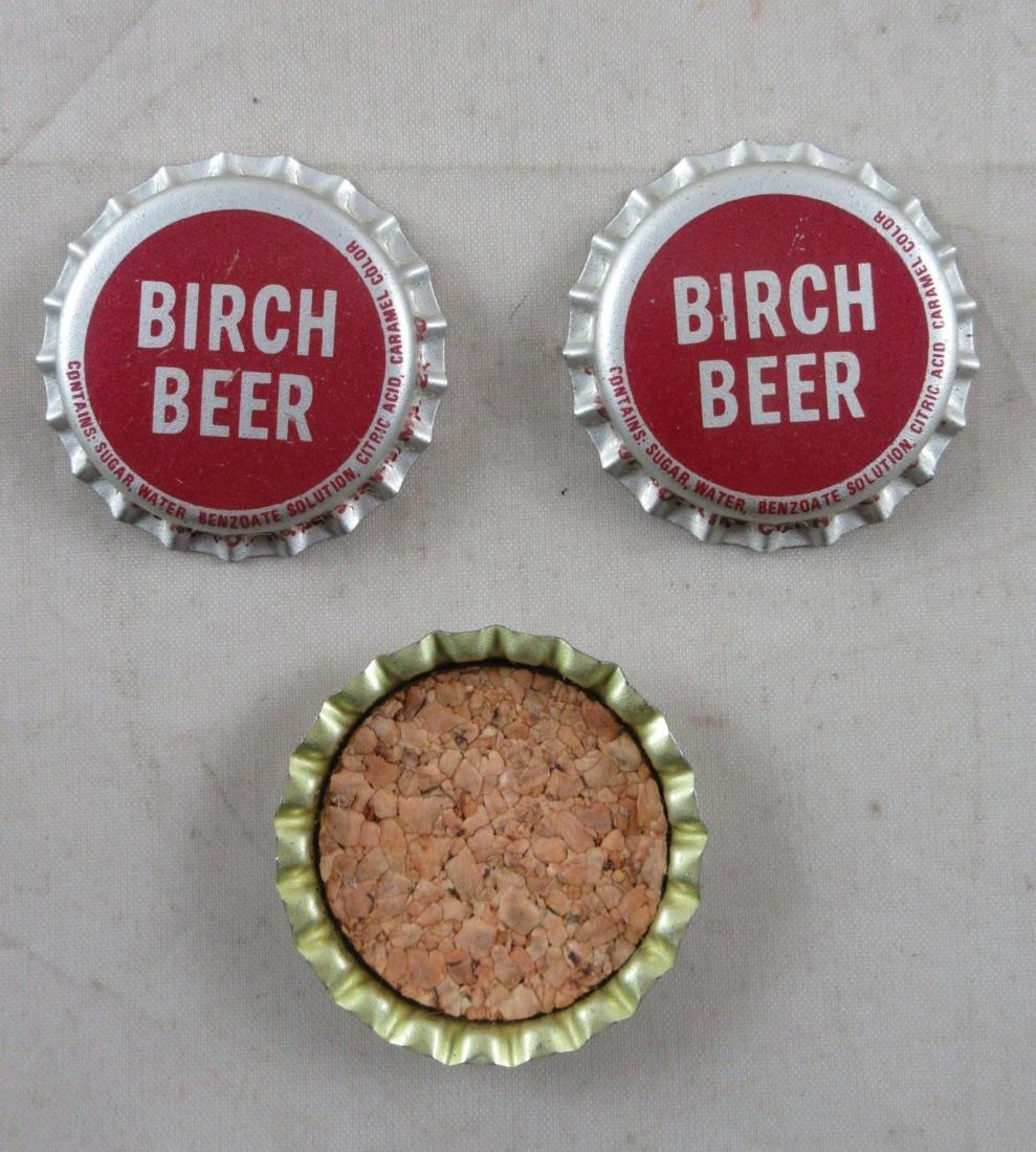 Lot of 3 Birch Beer cork lined soda caps. c.1960's - 2