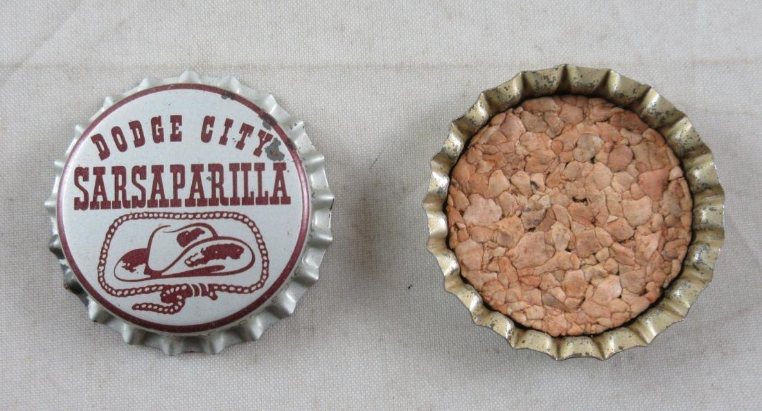 Lot of 2 Dodge City Sarsaparilla Cork Lined Soda Cap. - 2