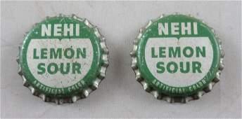 Lot of 2 Vintage cork lined Nehi Lemon Sour Soda bottle