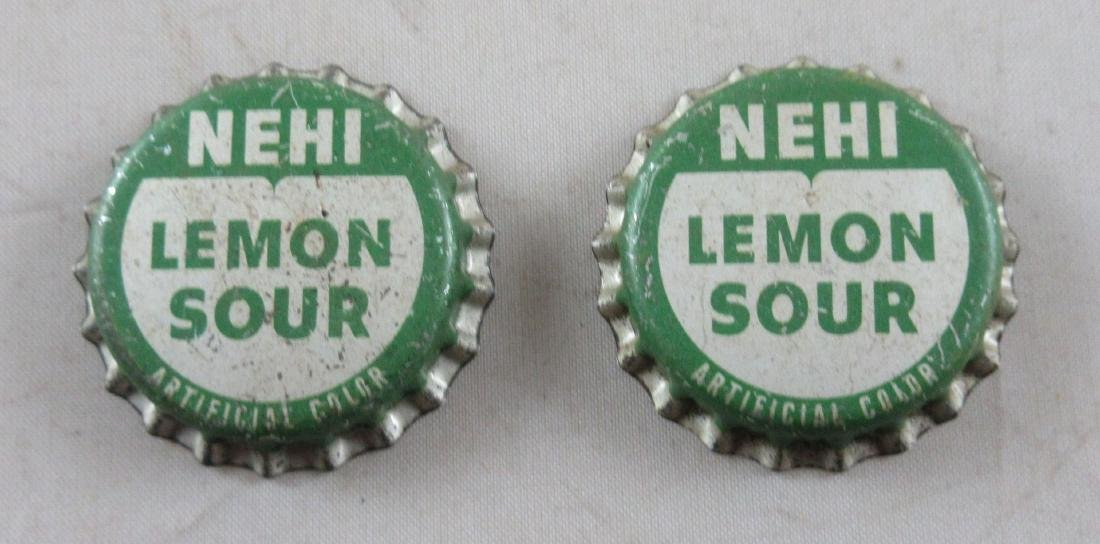 Lot of 2 Vintage cork lined Nehi Lemon Sour Soda bottle