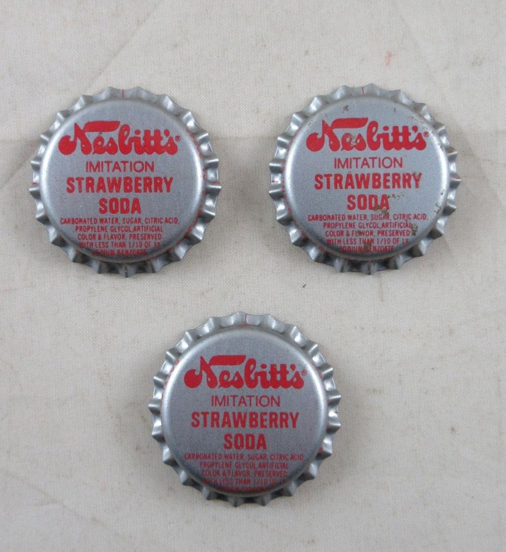 Lot of 3 Plastic lined Nesbitt Strawberry bottle caps.