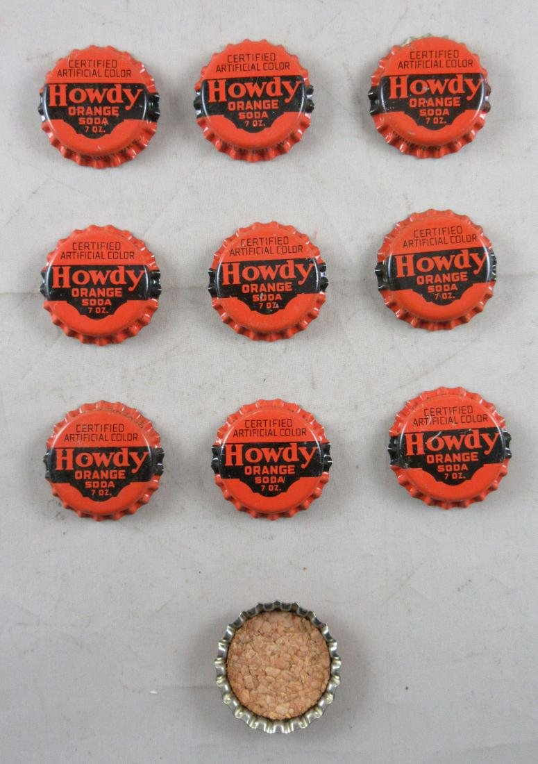 Lot of 10 Vintage cork lined Howdy soda bottle caps. - 2