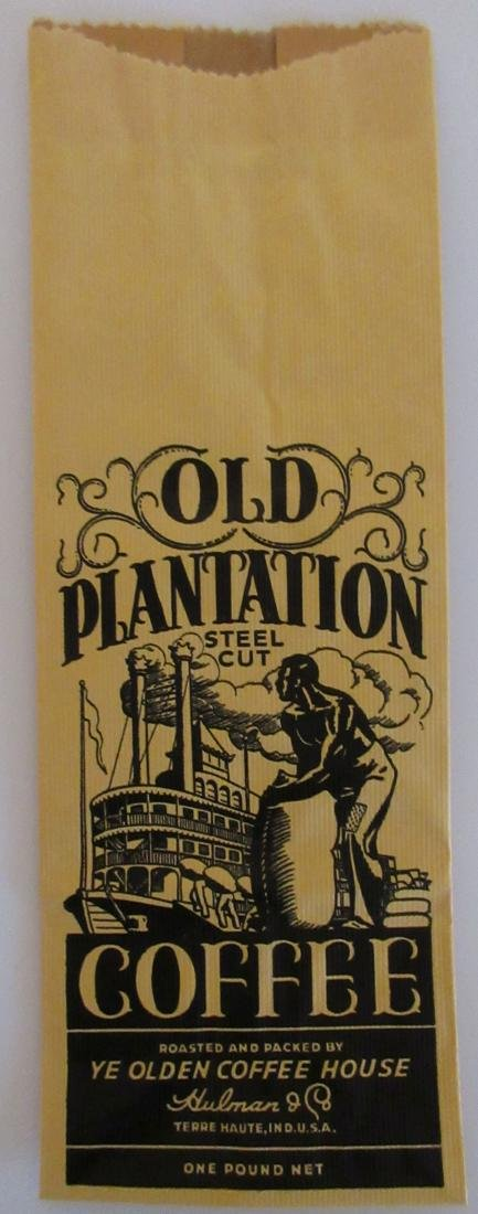"Rare 9"" Old Plantation coffee bag. c.1930's"