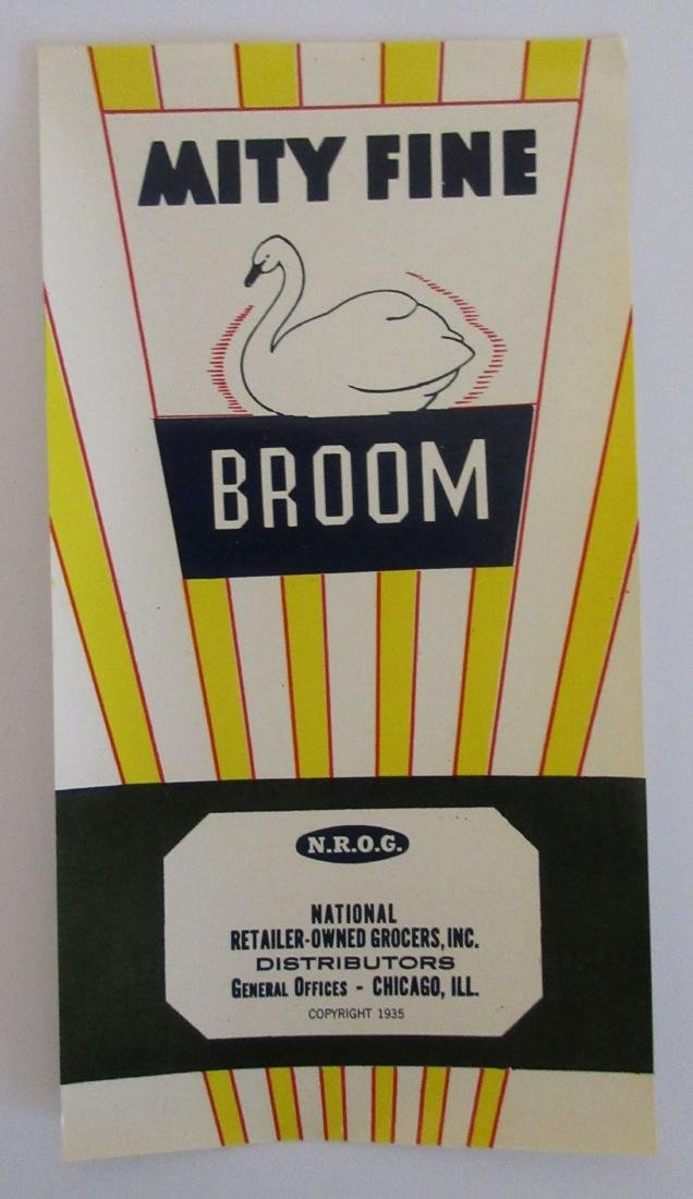 """Vintage 6 1/4"""" tall """"Mity Fine"""" broom label."""