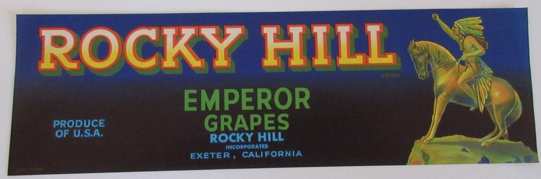 "Rocky Hill Grape Crate Label with Indian 13"" long."