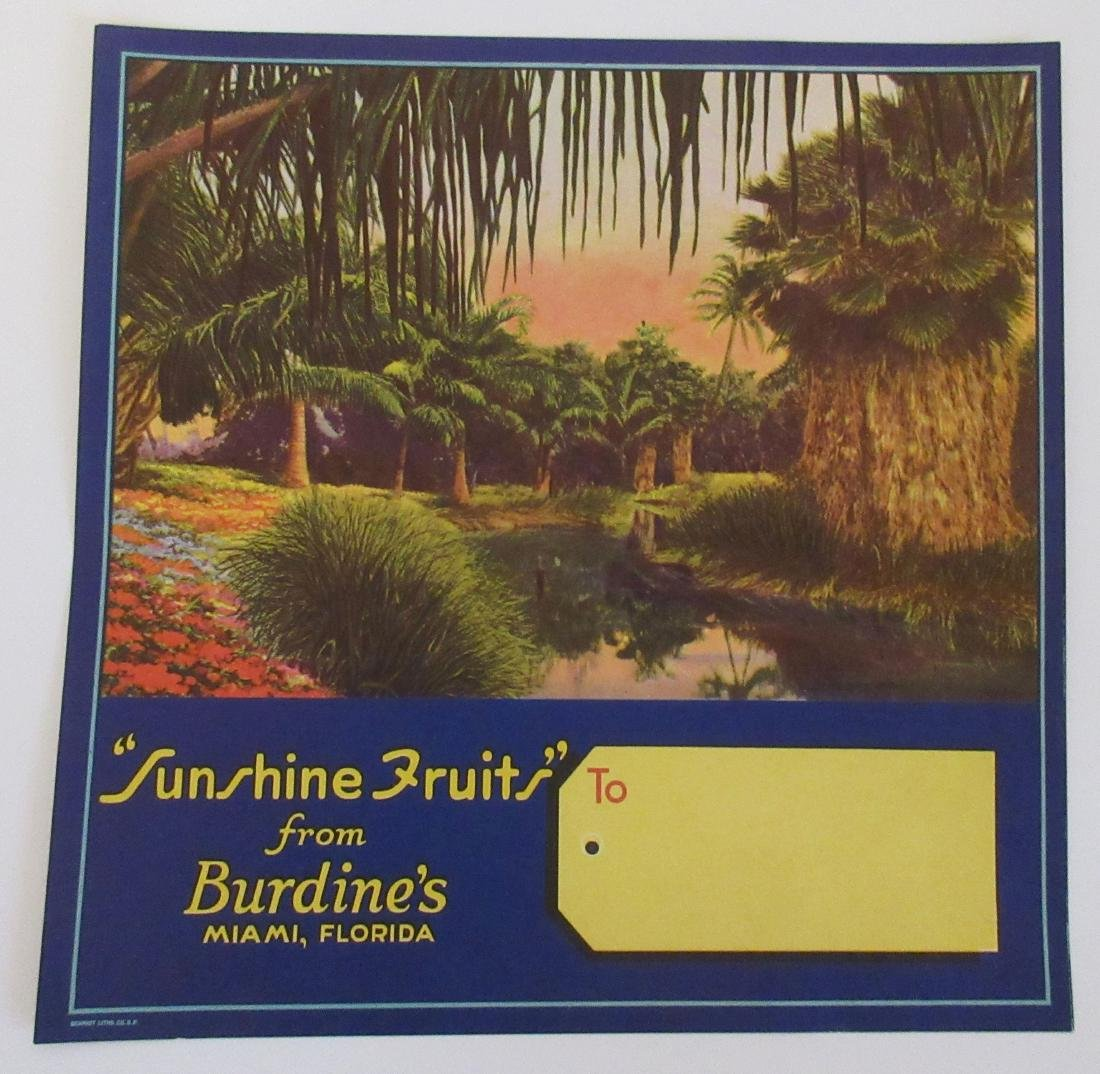 Burdine's Sunshine Fruits Shipping Gift Crate Label,