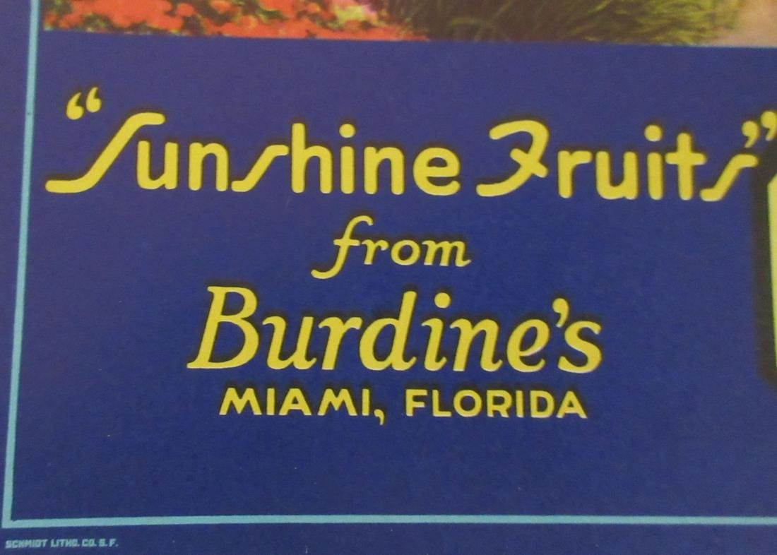 Burdine's Sunshine Fruits Shipping Gift Crate Label, - 2